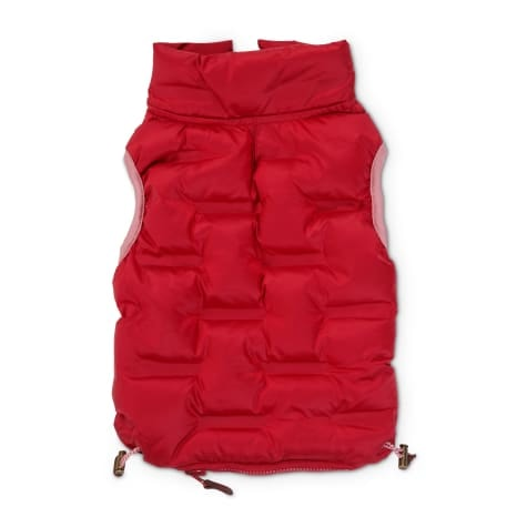Reddy Burgundy Zip-and-Stow Dog Puffer Jacket, Small
