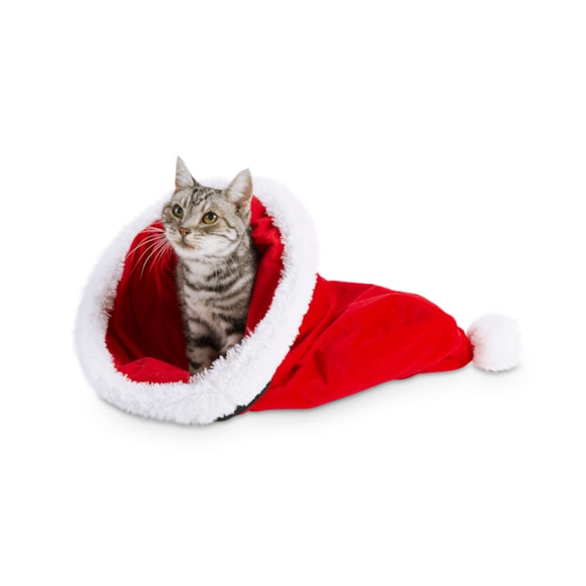 Holiday Tails Santa's Magic Hat Cat Play Sack with Crinkle