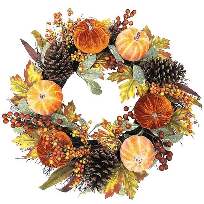 Velvet Pumpkin Wreath in Orange