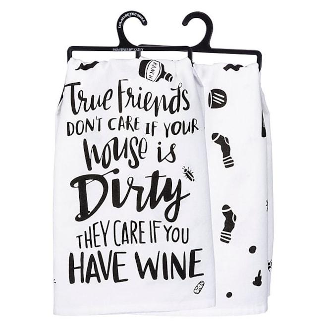 "Primitives by Kathy® ""True Friends"" Kitchen Towel in White"