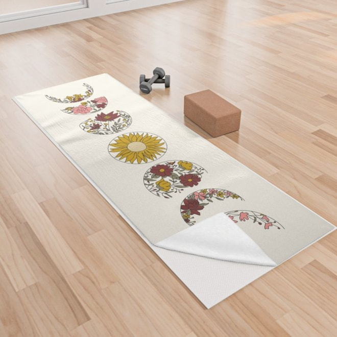 Floral Phases of the Moon Yoga Towel