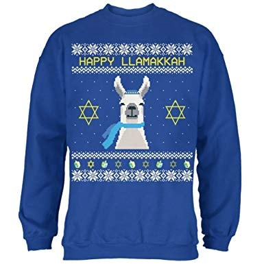 Llama Llamakkuh Ugly Hanukkah Sweater Royal Adult Sweatshirt - Medium