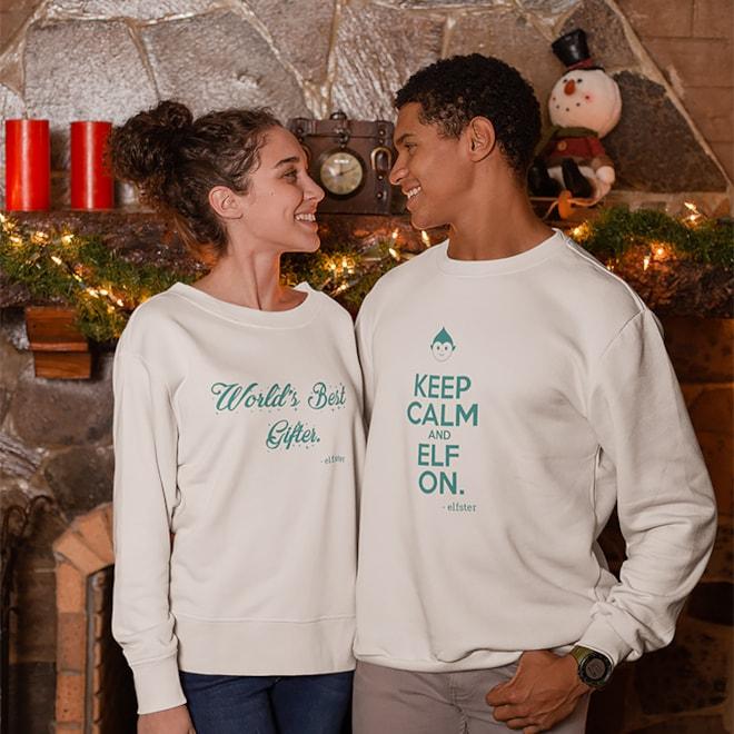 Keep Calm and Elf On Unisex Sweatshirt