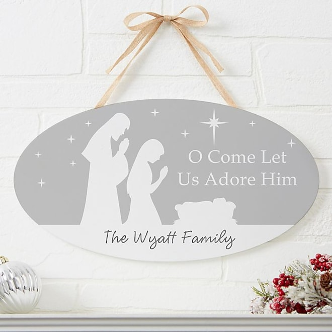 Let Us Adore Him Personalized Sign