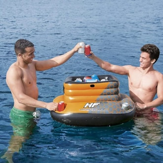 Inflatable Cooler With Lid & 4 Built-in Cup Holders