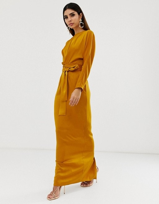Maxi Dress with Batwing Sleeve & Wrap Waist in Satin