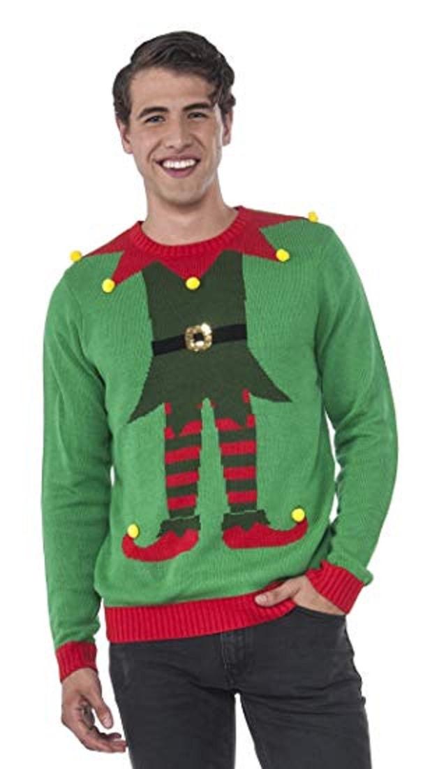 Rubie's Men's Green Elf Ugly Christmas Sweater
