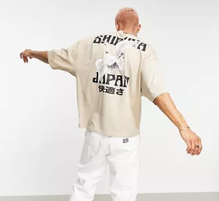 Oversized t-shirt in stone with souvenir back print
