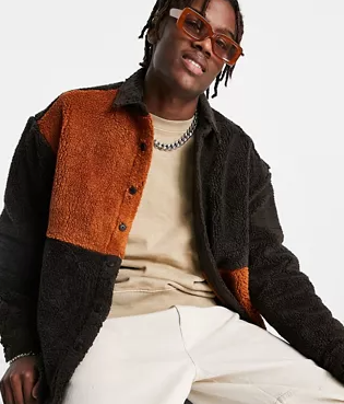Oversized Teddy Fleece Shirt in Color Block