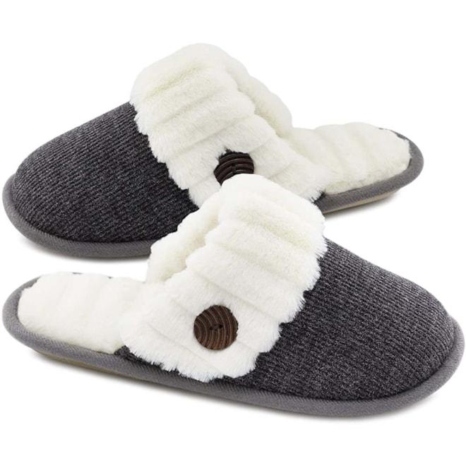 Fuzzy Knitted Memory Foam Slippers