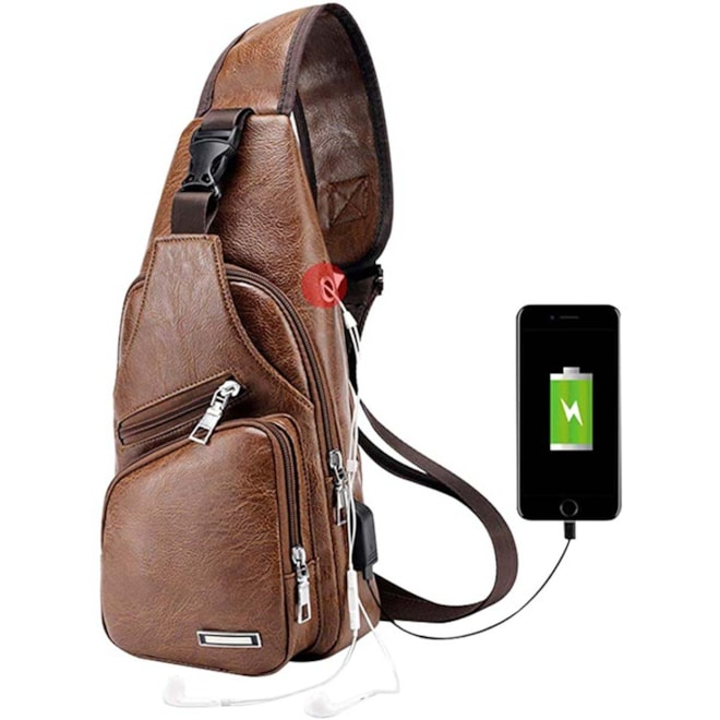 Leather Sling Shoulder Backpack with Charger