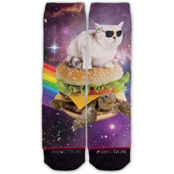 Galaxy Cat Surfing Burger Turtle Socks