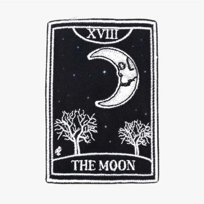 Skeleton Moon Tarot Card Patch