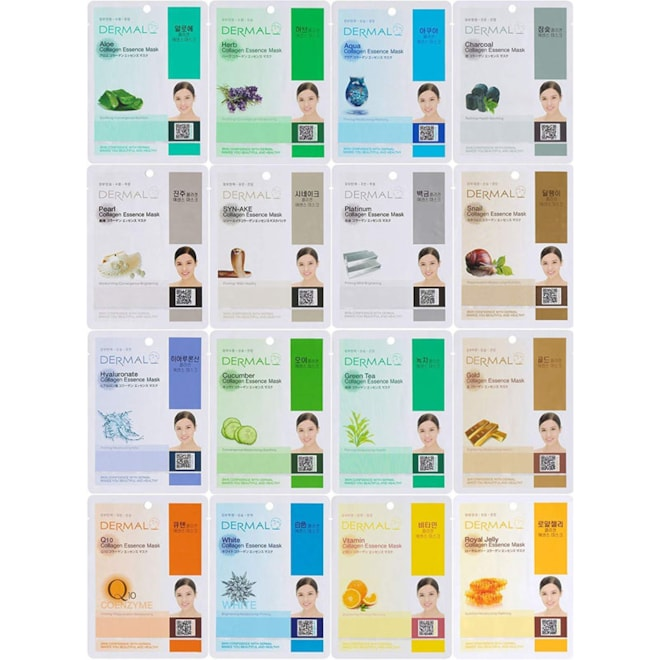 Dermal Korea Collagen Essence Full Face Facial Mask Sheet - Combo Pack (16 Pack)