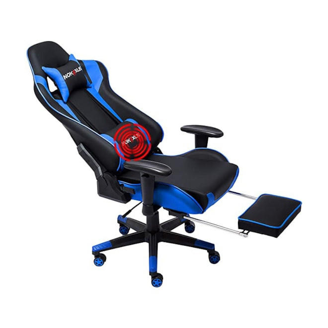 Gaming High-Back Ergonomic Racing Seat with Massager Lumbar Support and Retractable Leg Rest