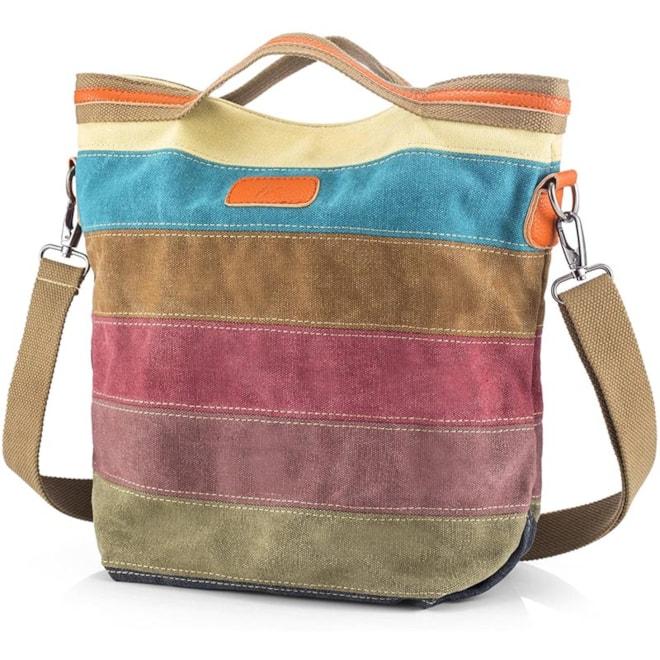 Canvas  Striped Shoulder Bag