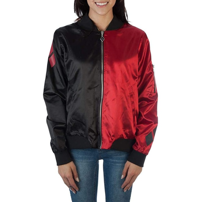 DC Comics Harley Quinn Diamonds Red and Black Juniors Fitted Bomber Jacket (M)