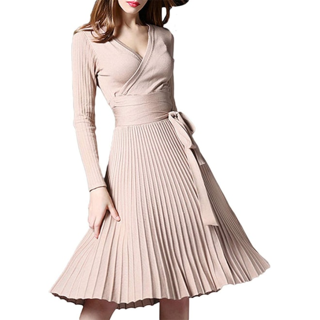 Wrap Fit Flare Belted Knit Sweater Dress