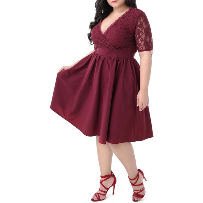 Plus Size Half-Sleeve Cocktail Dress
