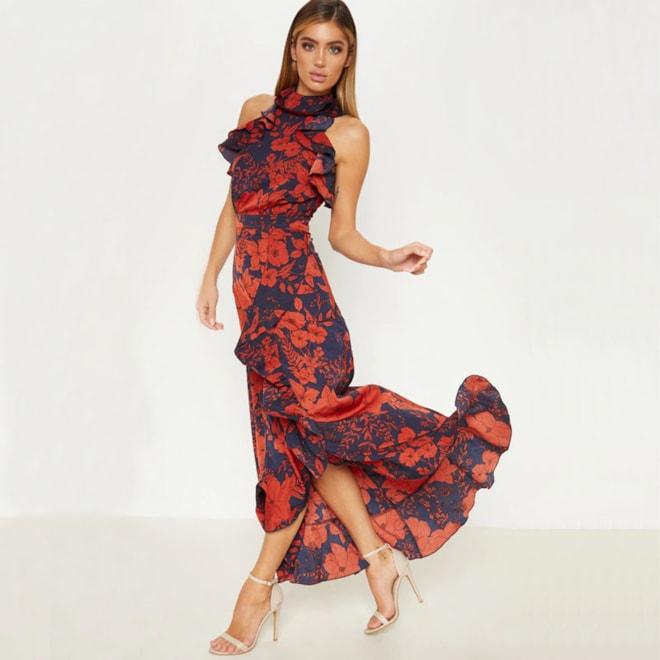 Navy Floral Print  Frill Detail Wrap Maxi Dress