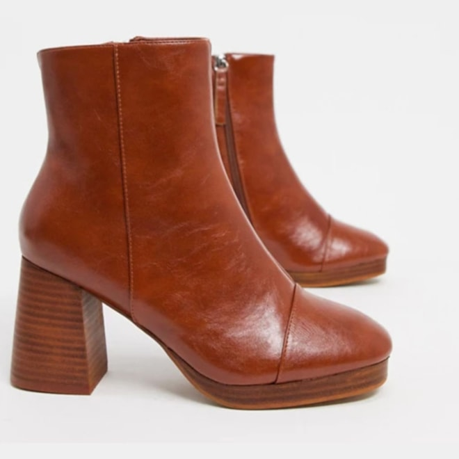 Platform Boots in Tan