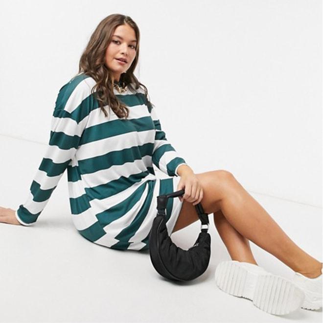 Plus Size Long Sleeve Mini T-Shirt Dress