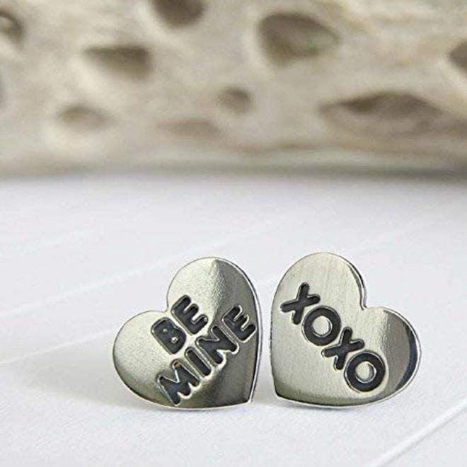 Sterling Silver Earrings Be Mine XOXO
