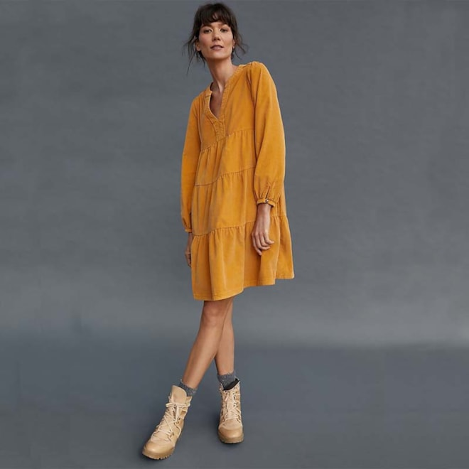 Laney Corduroy Tiered Tunic Dress