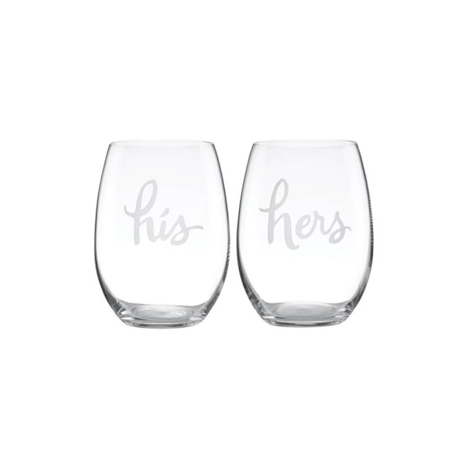 kate spade new york his & hers stemless wine glasses