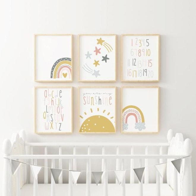 ABC Rainbow Nursery Print Set