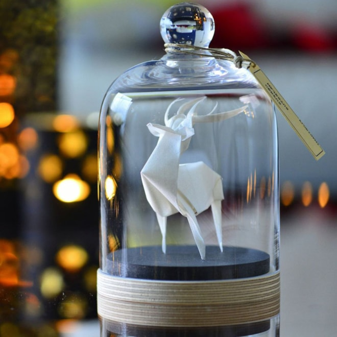Sculpture origami deer under a glass bell white by FlorigamiShop