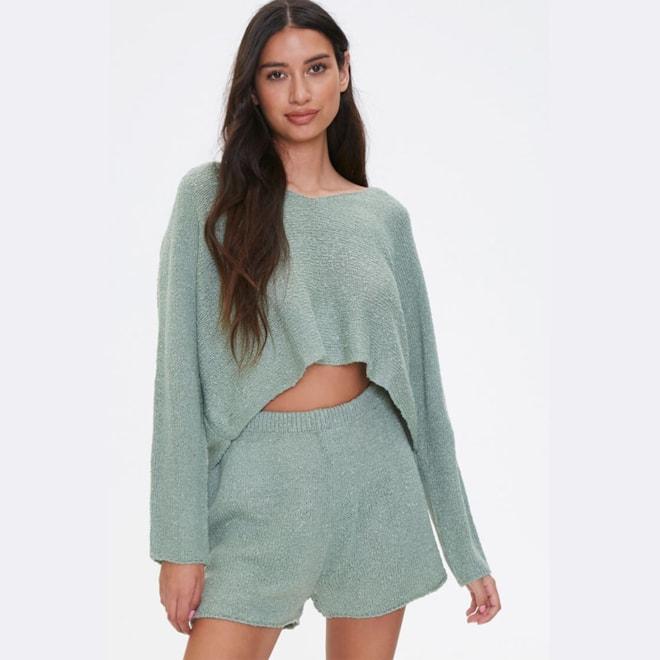Boucle Knit Sweater & Shorts Set