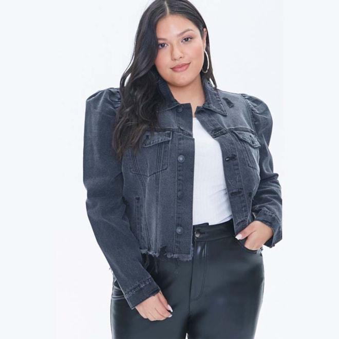 Plus Size Puff-Sleeve Denim Jacket