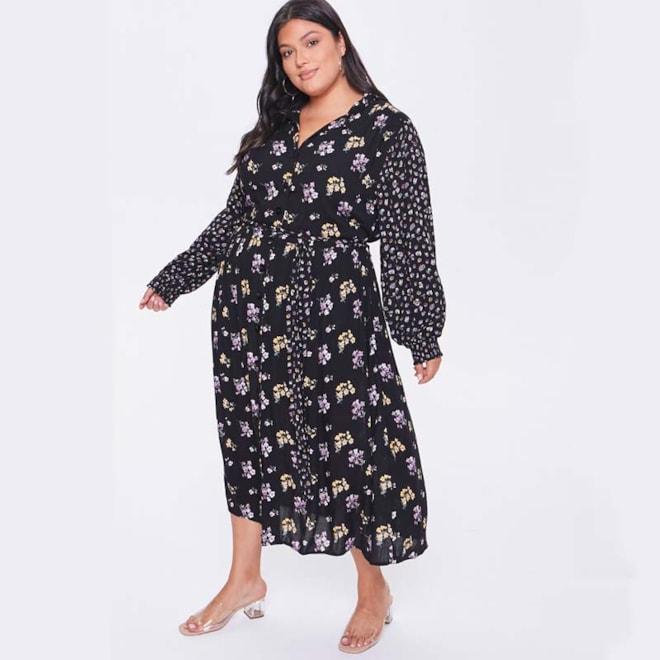 Plus Size Floral Print Buttoned Dress