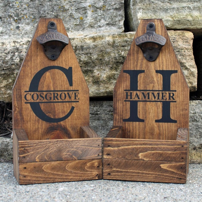 Personalized Wall Mounted Bottle Opener & Catcher