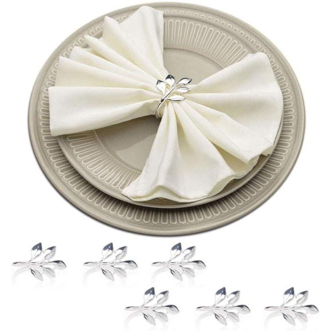 Silver Leaf Napkin Ring Holders