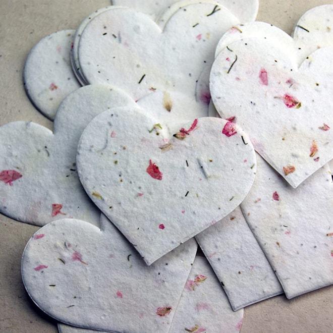 Pink Heart Shape Seed Embedded Tags