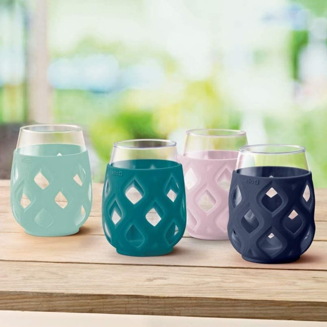 Silicone Wrapped Stemless Wine Glasses