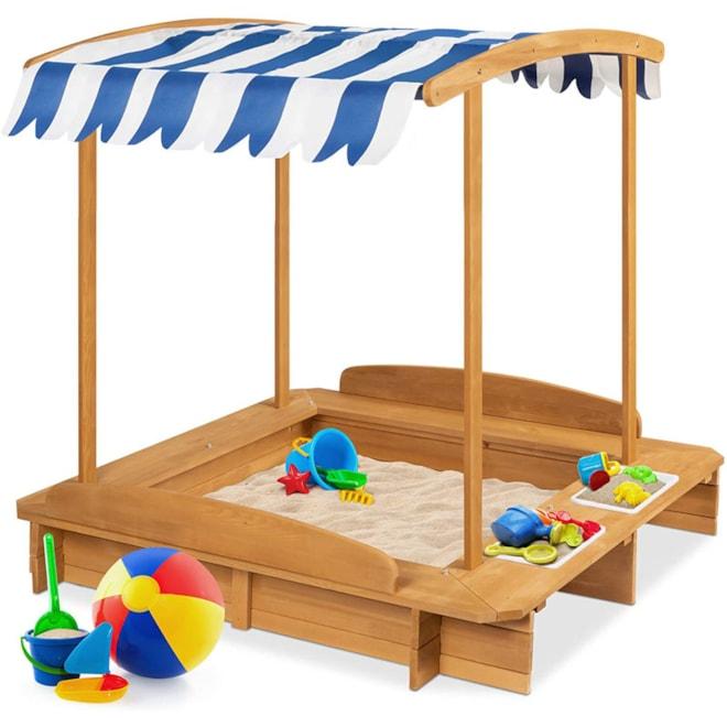 Kids Wooden Cabana Sandbox