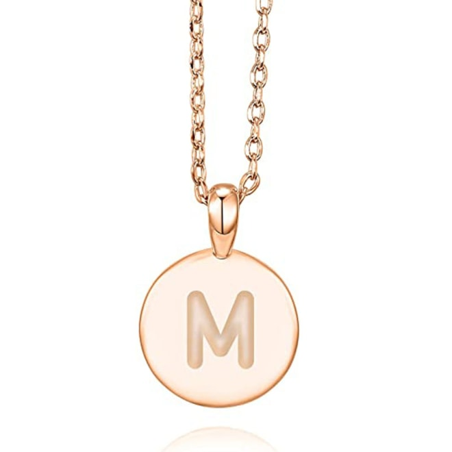 14K Rose Gold Plated M Initial Alphabet Pendant Necklace