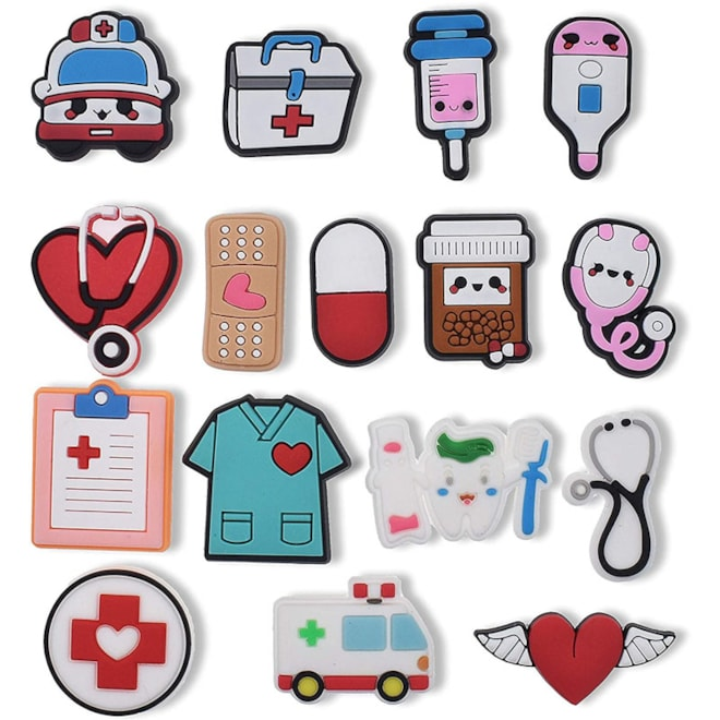16pieces Shoe Charms Medical Cute