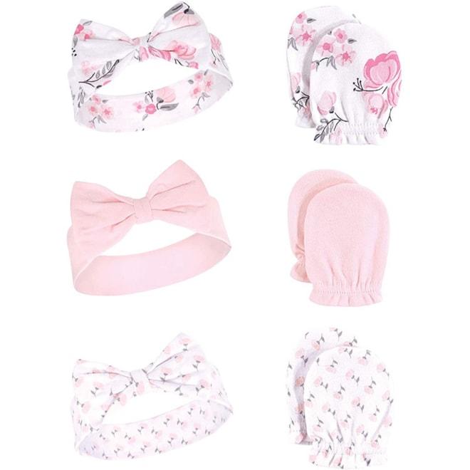 Baby Headband and Scratch Mitten Set