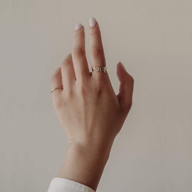 Bychari Gold-Filled Initial Ring