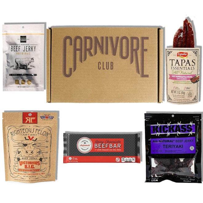 Carnivore Club Gift Box: Jerky & Meat Sticks Sampler - 4 to 6 Meat Snacks
