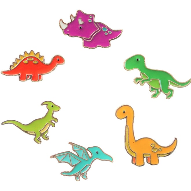Charming Colorful Dinosaur Enamel Pin Set - Set of 6 - Brooches Pin Badges for Clothing Bags Backpac