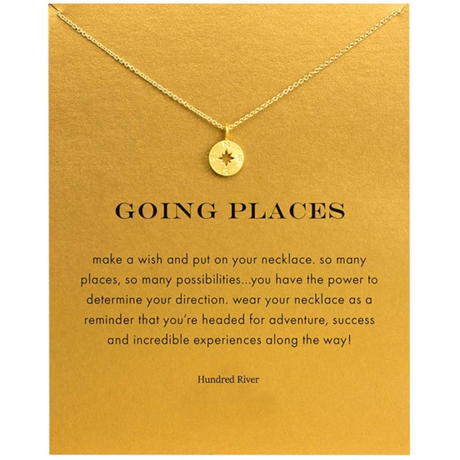 Compass Necklace with Message Card Gift Card