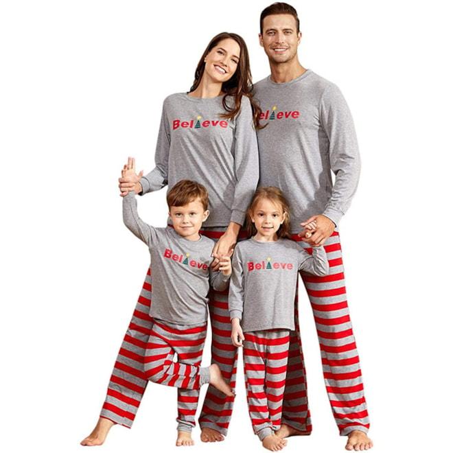 Family Matching Christmas Striped Pajamas Set