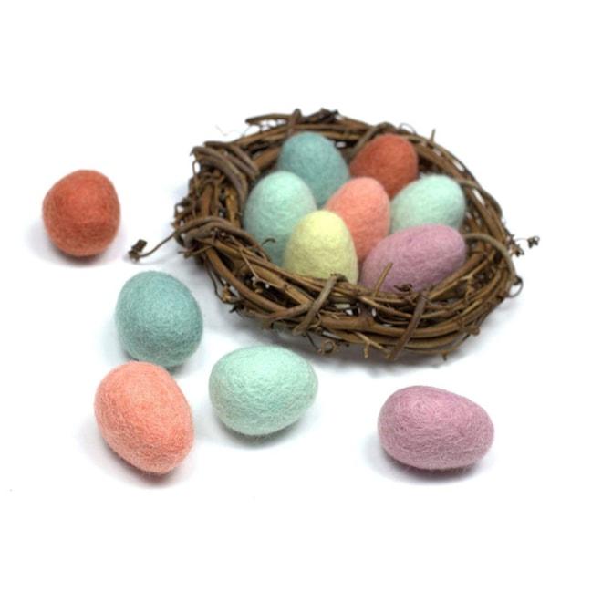 Felted Easter Eggs- Wool Felt Easter Eggs for Spring- Pastel, Decor,