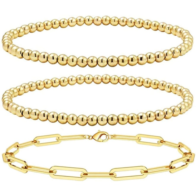 Gold Beaded Layered Link Bracelets