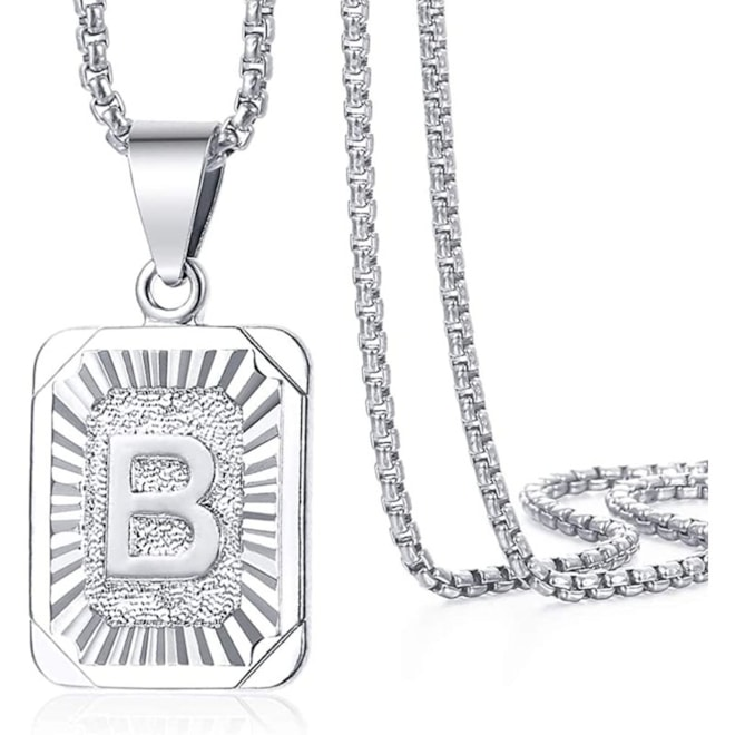 Initial Letter B Pendant Necklace White Gold Plated Stainless Steel